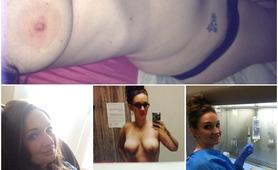 Sexy slut nurse in scrubs with amazing tits