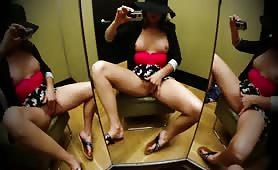 Hot Squirter Soaks Public Dressing Room