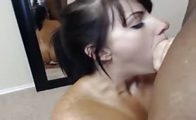 Gorgeous Blue-eyed brunette with meaty ass fucked on webcam