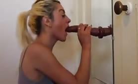 Hot College girl practicing deepthroat