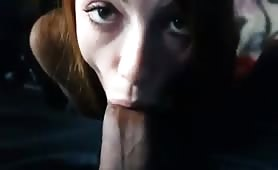Cute redhead GF sucking monster bbc