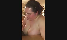 Fat white chick gives good head to black dick