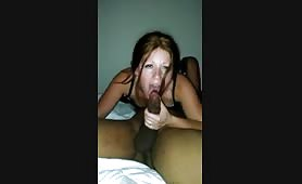 Hotwife enjoying her first BBC while hubby films