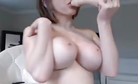 Big breasted girl cums hard
