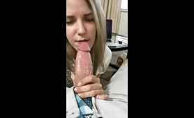 Horny mom gives a selfie blowjob