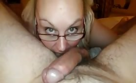 Blonde in glasses giving good head