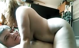 Chunky WIfe Rides Hubby