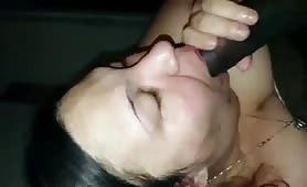 Sucking BBC slow-mo cum in mouth