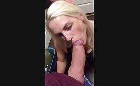 Blonde throats this Thick Cock
