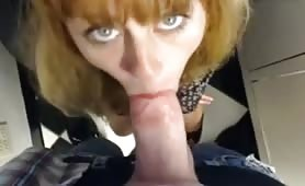 Redhead licks guys rod then gets screwed in Office