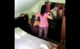 wife changing clothes on Hidden cam