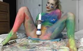 Rainbow Girl Cums