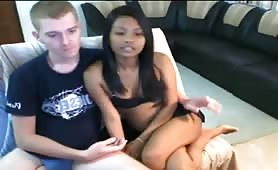 Young Interracial Couple plays on cam