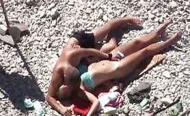 Couple just having fun at the beach