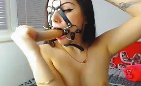 Horny Brunette Babe Fucks Her Wet Pussy with Dildo