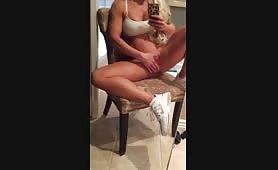 athletic blonde fingerie selfie