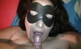BBW milf sucking to messy facial