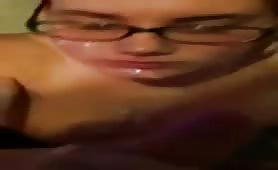 GF in glasses blowjob cumshot compilation