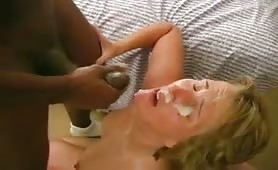Mature wife gets huge black facial