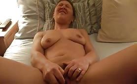 Asian wife cumming on her dildo