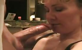 Hot blonde Milf is fed sperm from big dick