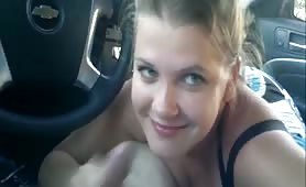 Blonde Beauty gives a great blowjob in the car