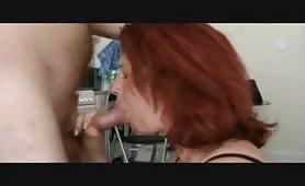 Redheaded milf deepthroats and then ass fucked