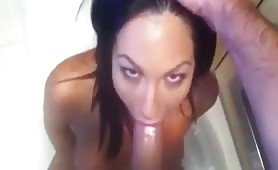 Hot slutty GF takes a huge white monster cock