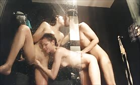 3 friends fuck in shower