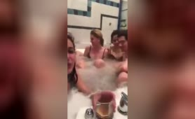 Russians having a fun time in a hot tub