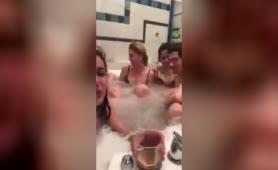 Russians having a fun time in a hot tub