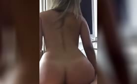 Blonde hottie riding like a porn star