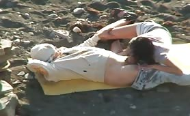 swallowing and fucking fiance on beach